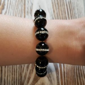 Jewelry - Genuine Black Agate & Crystal Beaded stretch